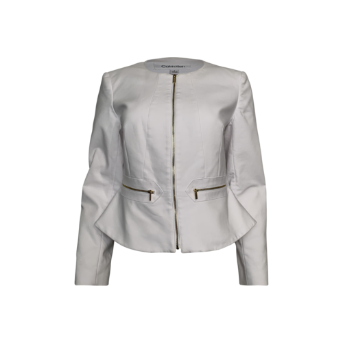 Calvin Klein White Collarless Peplum Jacket
