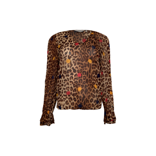 & Other Stories Cheetah Print Top w/ Multi-Color Dots