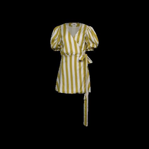 LPA Yellow Stripe Puff Sleeve Wrap Dress