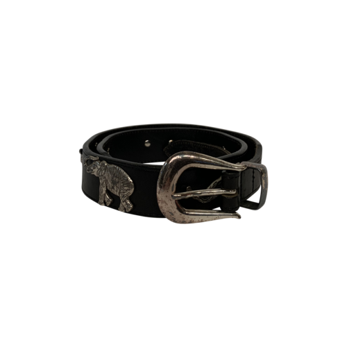 Vintage Black Leather Animal Studded Belt