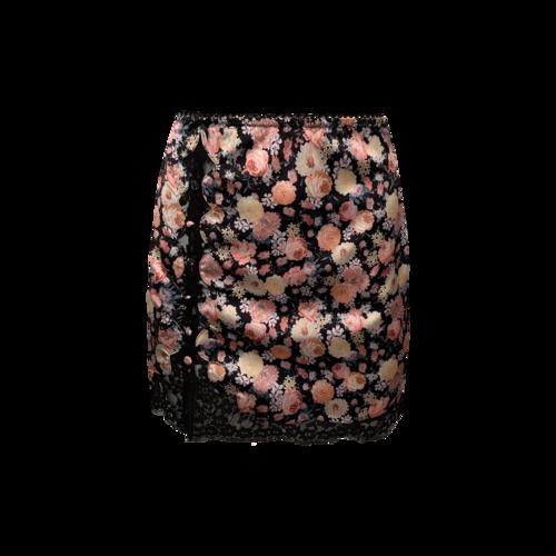 For Love & Lemons Floral Black Lace Skirt w/ Side Buttons