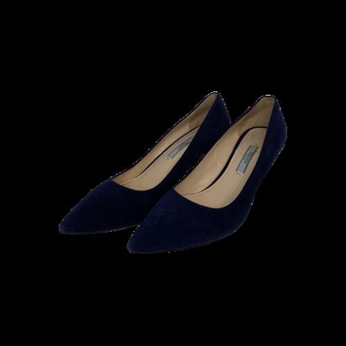 Prada Blue Suede Pointed Kitten Heels