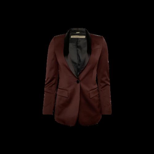 Burberry Burgundy One-Button Tuxedo Blazer w/ Black Lapels