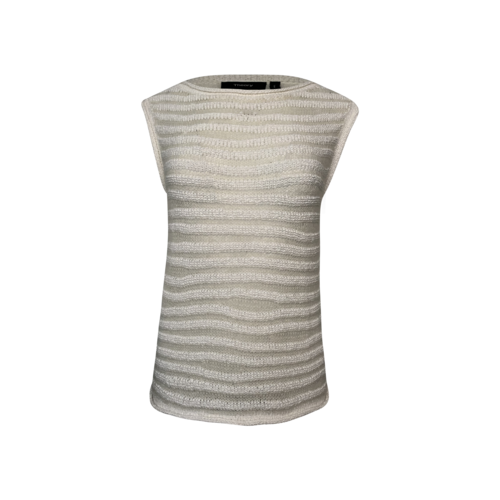Theory White Striped Boatneck Knit Top