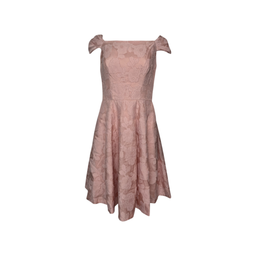 """Gal Meets Glam Pink Floral Embroidered """"Augusta"""" Dress"""