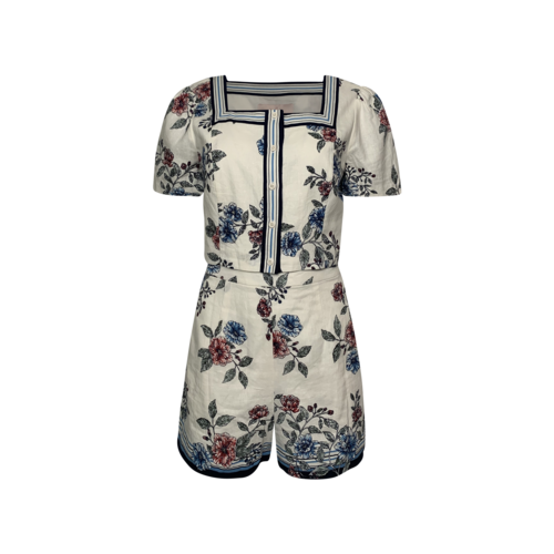 """Gal Meets Glam """"June"""" Floral Print Square Neck Two-Piece Top and Shorts Set"""