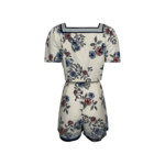 """""""June"""" Floral Print Square Neck Two-Piece Top and Shorts Set"""