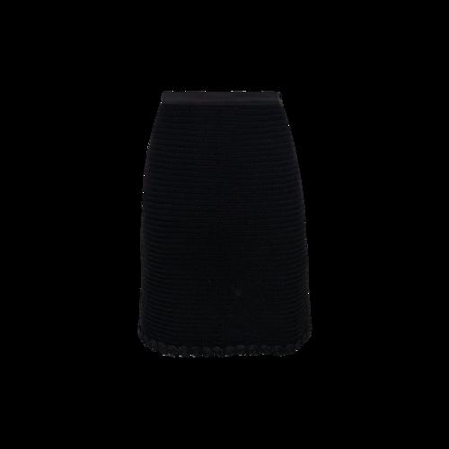 Black Pencil Skirt w/ Rosette Hem