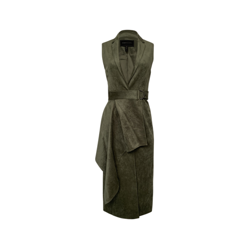 BCBGMAXAZRIA Dusty Olive Green Faux Suede Draped Maxi Vest