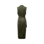 Dusty Olive Green Faux Suede Draped Maxi Vest