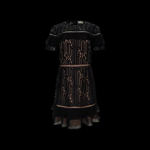 Adelyn Rae Black Lace Ruffle Dress