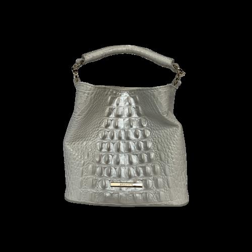 "Brahmin White Mini ""Amelia"" Bucket Bag"