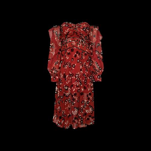 Self-Portrait Red Floral Off-the-Shoulder Chiffon Dress