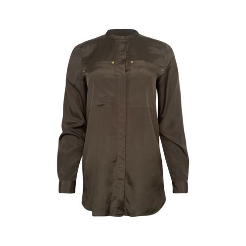 Michael Kors Olive Green Collarless Button-Up Shirt