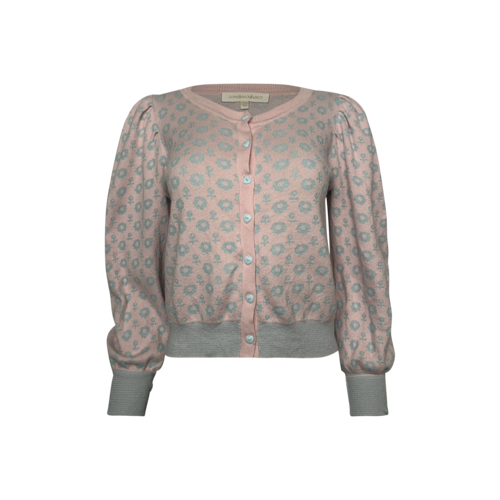 Pink Floral Pattern Button Cardigan