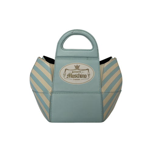 Moschino Blue Cake Box Leather Top Handle Bag