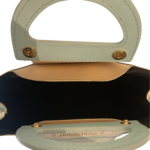 Blue Cake Box Leather Top Handle Bag