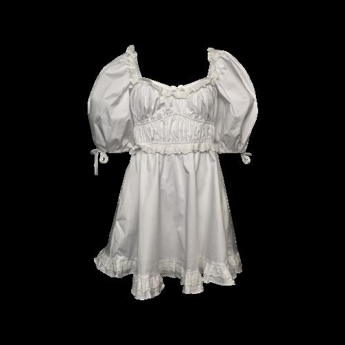 For Love & Lemons White Puff Sleeve Eyelet Ruffle Trim Dress