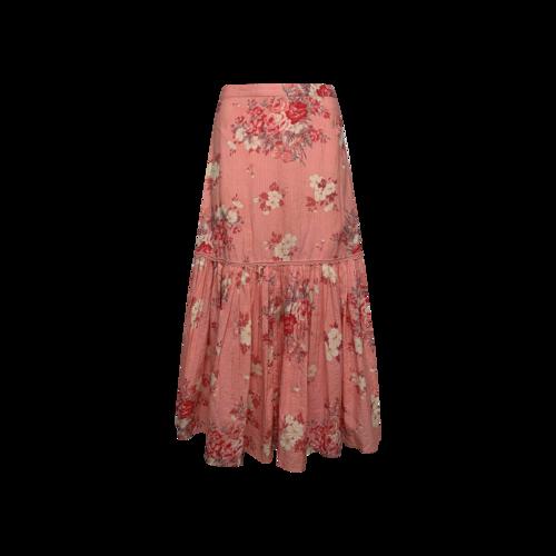 "Love Shack Fancy Raspberry Pink Floral ""Lockwood"" Skirt"