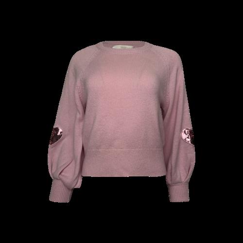"Love Shack Fancy Pink ""Ashland"" Heart Wool-Blend Pullover Sweater"