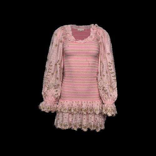 "Love Shack Fancy Pink Floral Embroidered ""Celia"" Ruched Dress"