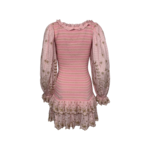 """Pink Floral Embroidered """"Celia"""" Ruched Dress"""