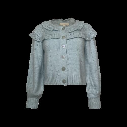 Blue Ruffle Angora Buttoned Cardigan