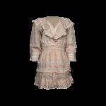 "Pink ""Deacon"" Eyelet Trim Puff Sleeve Ruffle Linen Mini Dress"