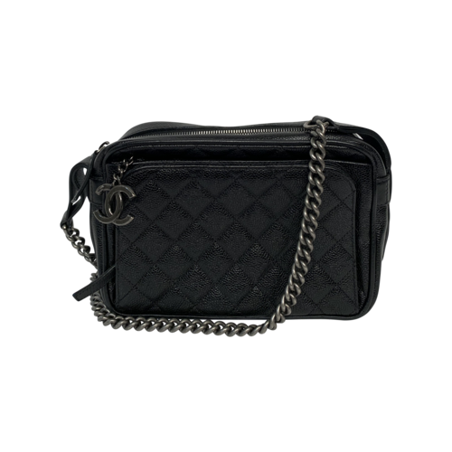 CHANEL Black Caviar Quilted Business Trip Camera Bag