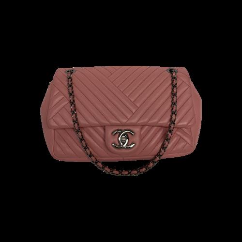 CHANEL Pink Lambskin Small CC Crossing Flap Bag