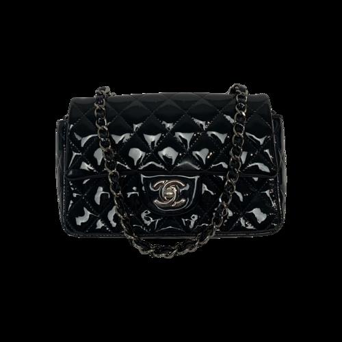 CHANEL Dark Blue Patent Leather Chain Mini Flap Bag