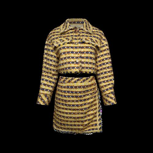 Steve J & Yoni P Yellow Tweed Jacket and Skirt Set