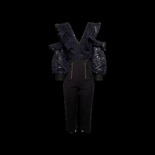 Self-Portrait Navy Blue Camo Lace Frill Jumpsuit