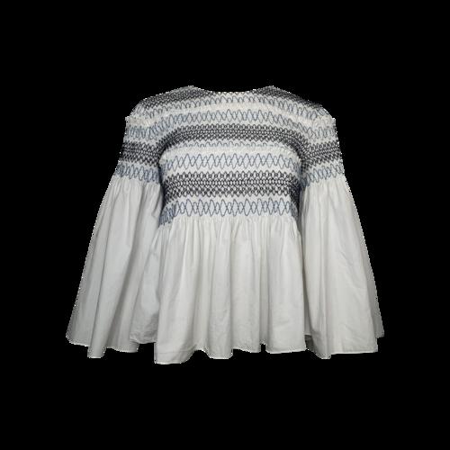 Chloé White Smocked Cotton-Poplin Top