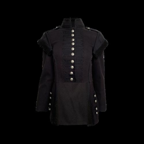 Burberry Black Hi-Low Wool Military Jacket