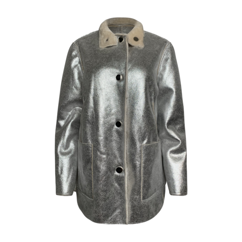 Opening Ceremony Silver and Shearling Reversible Jacket
