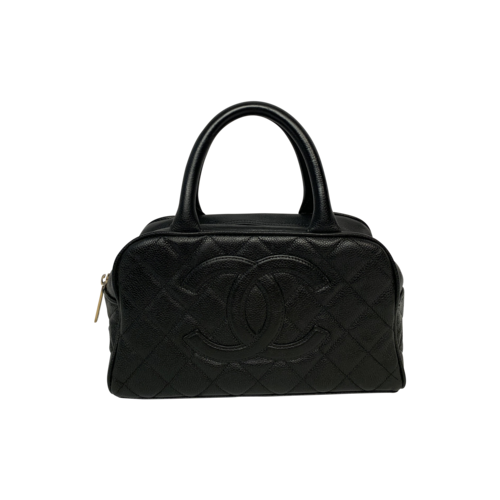 CHANEL Black Vintage Caviar Leather Bowler Bag