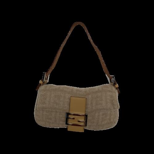 Fendi Beige Wool Monogram Baguette Bag