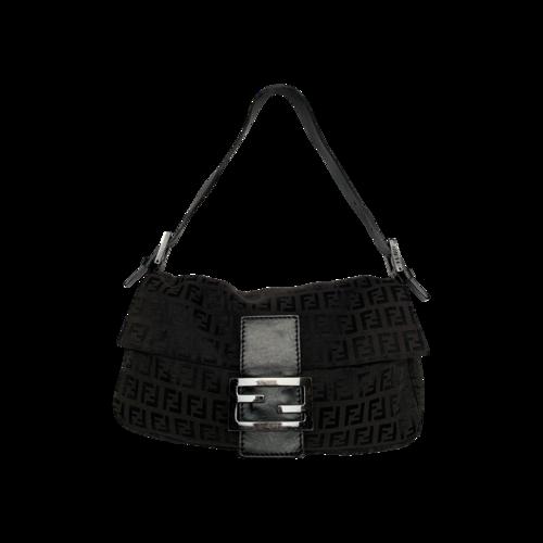 Fendi Black Monogram Baguette Bag