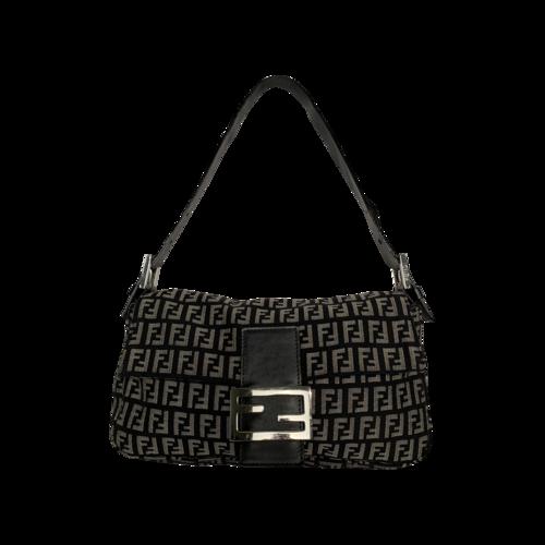 Fendi Black & Grey Monogram Baguette Bag