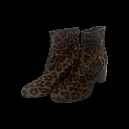 Sandro Paris Leopard Print Calfskin Heeled Boots