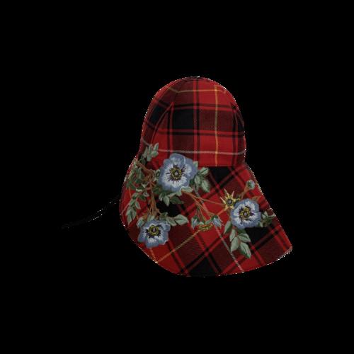 Gucci Red Wide-Brim Embroidered Tartan Hat