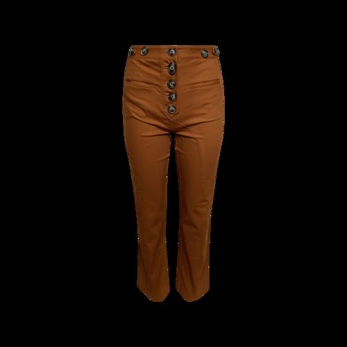Self-Portrait Rust Orange High-Waisted Button Front Pants