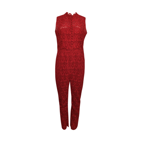 Valentino Red Lace Crochet Jumpsuit
