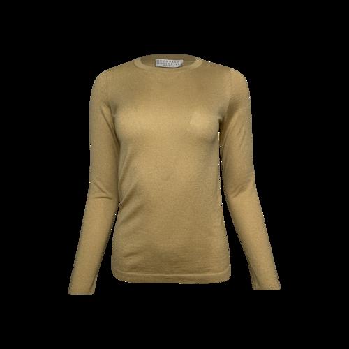 Brunello Cucinelli Gold Shimmer Long Sleeve Top