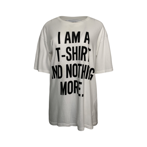"""Moschino Jeremy Scott x Moschino """"I am a T-Shirt And Nothing More"""" White Slogan Tee"""