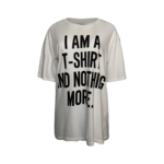 """Jeremy Scott x Moschino """"I am a T-Shirt And Nothing More"""" White Slogan Tee"""