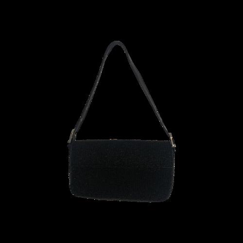 Vintage Black Beaded Mini Baguette Bag