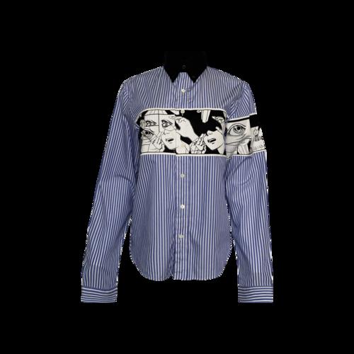 Prada Blue Comic-Print Striped Cotton Poplin Shirt