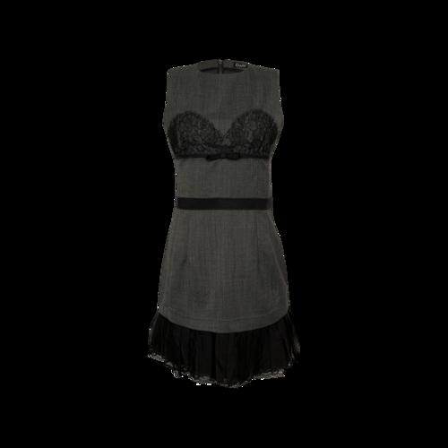 Dolce & Gabbana Grey Pleated Dress w/ Black Lace Inset